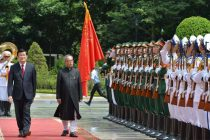 The President, Pranab Mukherjee inspecting the Guard of Honour, at Ceremonial Reception, at Presidential Palace, in Hanoi, Vietnam
