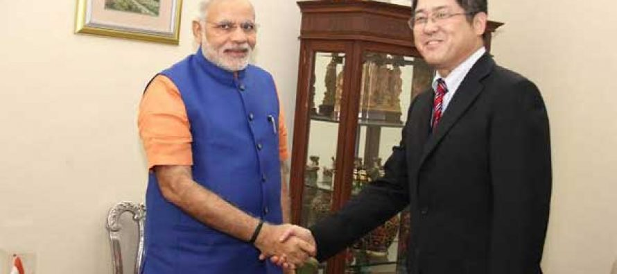The Chinese Ambassador, Le Yucheng calling on the Prime Minister, Narendra Modi, in Gujarat on September 17, 2014.