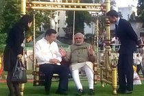 The Prime Minister, Narendra Modi and the Chinese President, Xi Jinping at Sabarmati Waterfront, in Ahmedabad