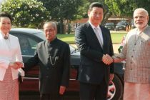 The President, Pranab Mukherjee and the Prime Minister, Narendra Modi with the Chinese President, Xi Jinping