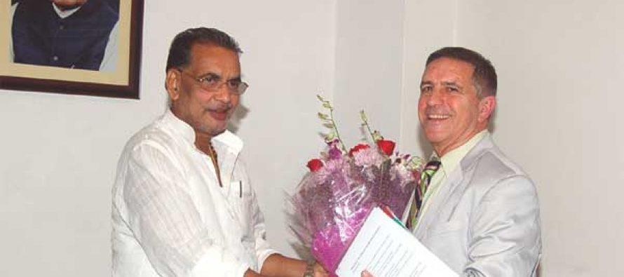 The Israeli Ambassador to India, Daniel Carmon meets the Union Minister for Agriculture, Radha Mohan Singh