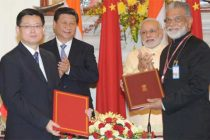 The Prime Minister, Narendra Modi and the Chinese President, Xi Jinping witnessing the signing of an MoU
