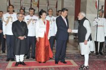 The Prime Minister, Narendra Modi, at the banquet hosted in honour of the Chinese President, Xi Jinping