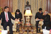 The Chinese President, Xi Jinping meeting the President, Pranab Mukherjee, at Rashtrapati Bhavan,