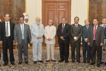 The Foreign Minister of People's Republic of Bangladesh, Abdul Hassan Mahmood Ali along with his delegation members, called on the President, Pranab Mukherjee