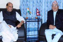 The Home Minister, Rajnath Singh meeting the Deputy Prime Minister and Home Minister of Nepal, Bamdev Gautam