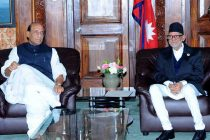 The Home Minister, Rajnath Singh calling on the Prime Minister of Nepal, Sushil Koirala, in Kathmandu