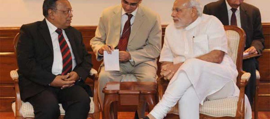 The Bangladesh Foreign Minister, Abul Hassan Mahmood Ali calling on the Prime Minister, Narendra Modi,