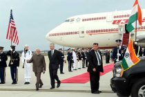 The Deputy Secretary of State Bill Burns receives the Prime Minister, Narendra Modi, at Andrews Air Force Base
