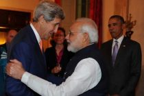 Prime Minister Narendra modi with the US Secretary of State John Kerry at the White House dinner