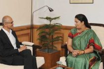 The CEO, Microsoft, Satya Nadela calling on the Union Minister for Human Resource Development, Smriti Irani,
