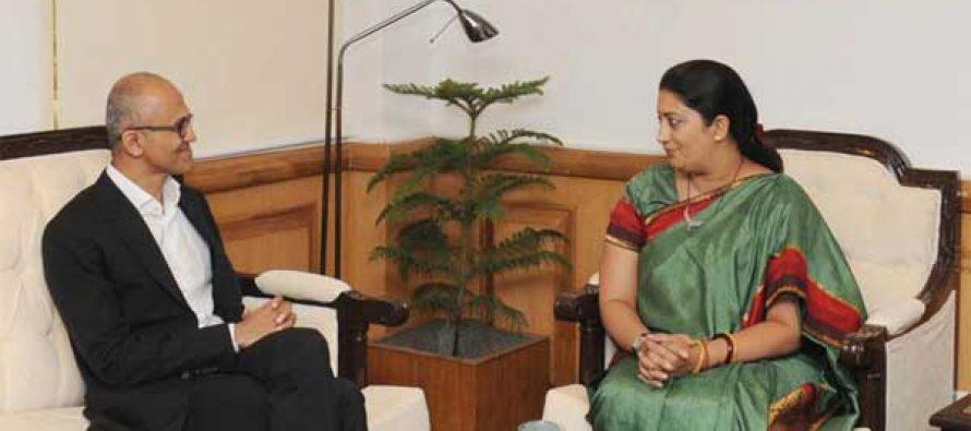 The CEO, Microsoft, Satya Nadela calling on the Union Minister for Human Resource Development, Smriti Irani,
