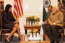 PM Narendra Modi meeting the Governor of South Carolina, Nikki Haley, in New York