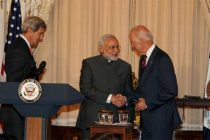 The PM, Narendra Modi at lunch hosted by the US Vice President, Joe Biden and the US Secretary of State,  John Kerry