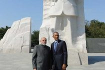 The Prime Minister, Narendra Modi and the US President, Barack Obama at the Martin Luther King memorial,