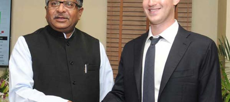 The Chairman & CEO of Facebook, Mark Zuckerberg meeting the Minister for Communications & IT and Law & Justice, Ravi Shankar Prasad