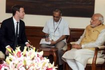 The CEO of Facebook, Mark Zuckerberg calling on the Prime Minister, Narendra Modi, in New Delhi on October 10, 2014.