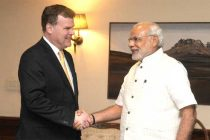 The Minister of Foreign Affairs, Canada, John Baird calling on the Prime Minister, Narendra Modi, in New Delhi on October 13, 2014.