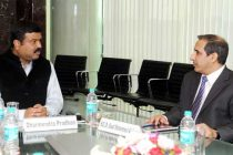 The MoS (IC) for Petroleum and Natural Gas, Dharmendra Pradhan meeting the Ambassador of Saudi Arabia to India, Dr. Saud Mohammed