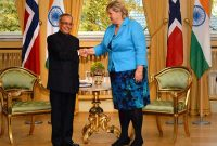 The President, Pranab Mukherjee meeting the Prime Minister of Norway, Erna Solberg, at Oslo, in Norway on October 14, 2014.