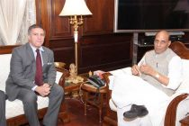 The Ambassador of Israel to India, Daniel Carmon calling on the Union Home Minister, Rajnath Singh in New Delhi on October 14, 2014.