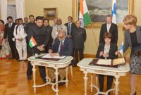 The President, Pranab Mukherjee and the President of Finland, Sauli Niinisto witnessing the signing of MoU