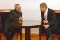 The President, Pranab Mukherjee meeting with the President of Finland, Sauli Niinisto, at Presidential Palace in Helsinki,