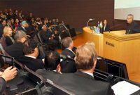 The President, Pranab Mukherjee addressing the business meeting between India and Finland, at Helsinki, in Finland
