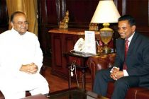 The Defence and National Security Minister of Maldives, Mohamed Nazim calling on the Minister for Finance, Corporate Affairs and Defence,