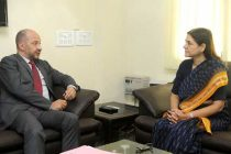 The Ambassador of France to India, Francois Tichier calling on the Minister for Women and Child Development, Maneka Sanjay Gandhi