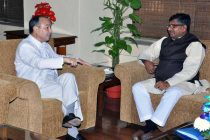 The Chairman and CEO of SoftBank Corporation, Japan, Masayoshi Son meeting the Union Minister for Communications & Information Technology and Law & Justice, Ravi Shankar Prasad