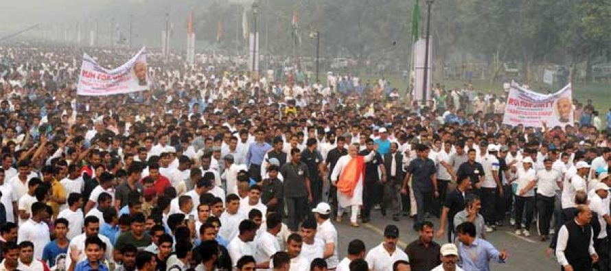 The PM, Narendra Modi at Run for Unity, at the Rajpath for Rashtriya Ekta Diwas Celebrations, in New Delhi on October 31, 2014.