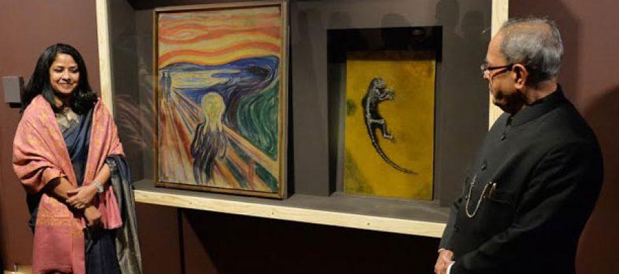 President of India, Pranab Mukherjee with his daughter Ms Shaemista Mukherjee, Visiting Munch Museumat at Oslo, NorwayPresident of India, Pranab Mukherjee with his daughter Ms Shaemista Mukherjee, Visiting Munch Museumat at Oslo, Norway