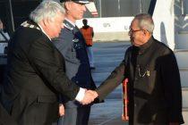 President of India, Pranab Mukherjee received by Herald Espolund, Mayor of Ullensake in Oslo, Norway