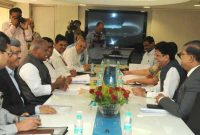 The Chief Minister of Bihar, Jitan Ram Manjhi meeting the MoS (IC) for Power, Coal and New and Renewable Energy, Piyush Goyal