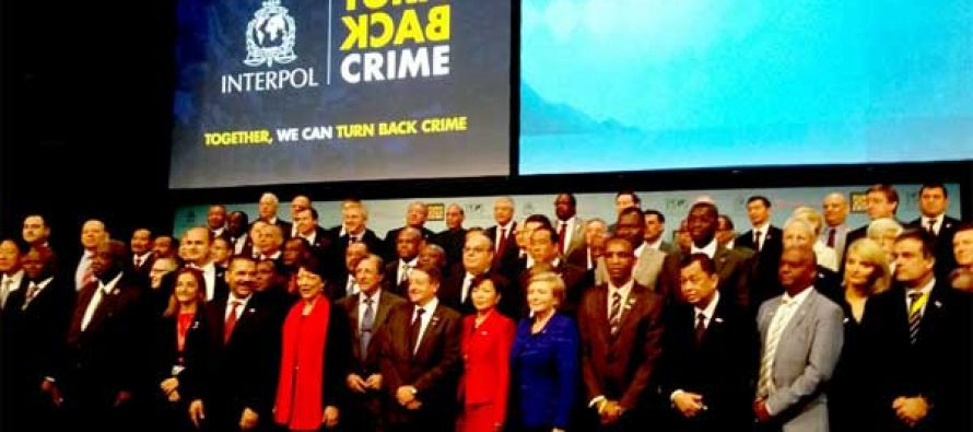 The Home Minister, Rajnath Singh along with the other participants at the 83rd General Assembly of Interpol, in Monaco on Nov 04, 2014.