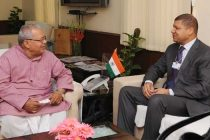 The Minister of the Chamber of Commerce and Industry of Cote d'Ivoire, Jean-Louis Billon meeting Minister for Micro, Small and Medium Enterprises, Kalraj Mishra
