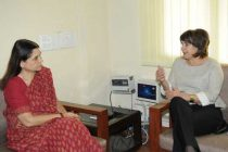 The Netherlands Minister for trade and development cooperation, Lilianne Ploumen meeting the Union Minister for Women and Child Development, Maneka Sanjay Gandhi,