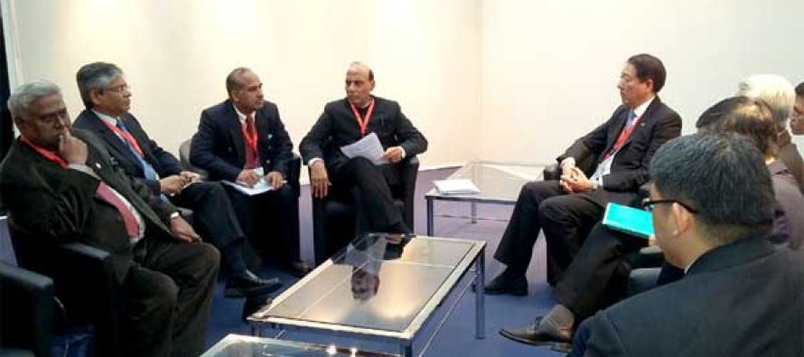 The Home Minister, Rajnath Singh led Indian delegation meeting the Deputy Prime Minister of Singapore, Chee Hean Teo