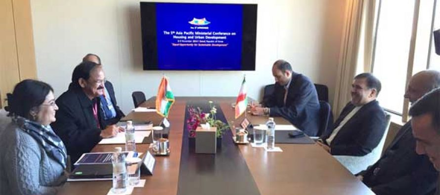 The Minister for Urban Development, Housing and Urban Poverty Alleviation and Parliamentary Affairs, M. Venkaiah Naidu meeting the Minister of Roads and Urban Development, Iran, Abbas Akhoundi