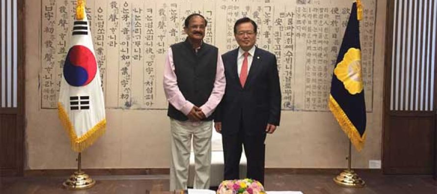 The speaker of South Korea National Assembly, Dr. Kang Chang-Hee meeting the Minister for Urban Development, Housing and Urban Poverty Alleviation and Parliamentary Affairs, M. Venkaiah Naidu