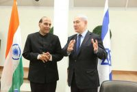 The Home Minister, Rajnath Singh and the Israeli Prime Minister, Benjamin Netanyahu, during a meeting, at Tel Aviv, Israel