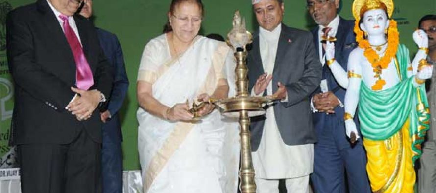 The Speaker, Lok Sabha, Smt. Sumitra Mahajan lighting the lamp to inaugurate the 6th World Ayurveda Congress, at Pragati Maidan
