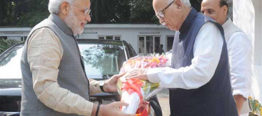 The Prime Minister, Narendra Modi greeting Lal Krishana Advani on his birthday, in New Delhi on November 08, 2014.