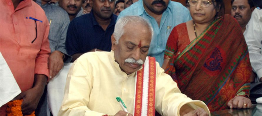 Bandaru Dattatreya taking charge as the Minister of State (IC) for Labour and Employment, in New Delhi on November 10, 2014.