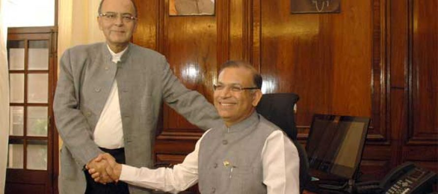 Jayant Sinha taking charge as the Minister Union Minister for Finance, in New Delhi on November 10, 201