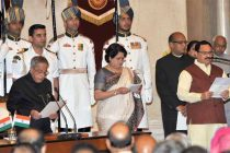 The President, Pranab Mukherjee administering the oath as Cabinet Minister to Jagat Prakash Nadda, at a Swearing-in Ceremony