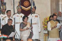The President, Pranab Mukherjee administering the oath as Minister of State to Mukhtar Abbas Naqvi, at a Swearing-in Ceremony