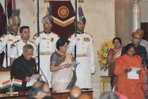 The President, Pranab Mukherjee administering the oath as Minister of State to Sadhvi Niranjan Jyoti, at a Swearing-in Ceremony