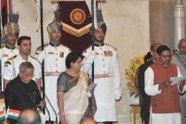 The President, Pranab Mukherjee administering the oath as Minister of State to Prof. (Dr.) Ramshankar Katheria, at a Swearing-in Ceremony